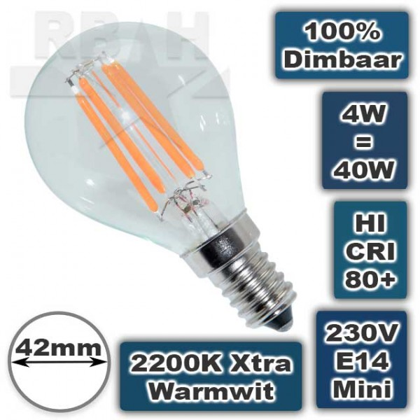 E14 Led Lamp (kleine fitting) dimbaar 2200K 4W
