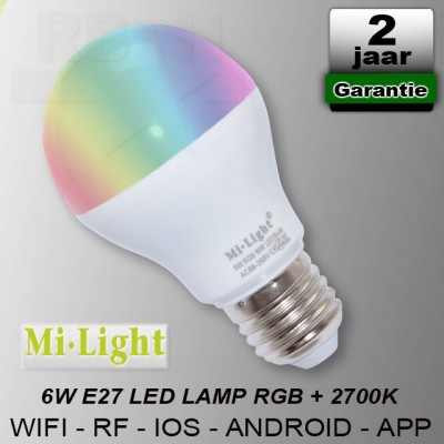E27 RGBW Led lamp Mi-Light 6W Wifi RF