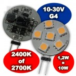Led Steeklampje G4 12-30V 1,2W Dimbaar 2400K/2700K Plat