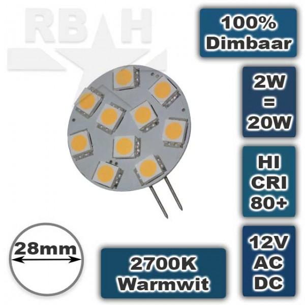 G4 Led Lamp 12V-30V 2W Dimbaar Warmwit Plat