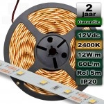 2400K Ledstrip 12V Extra warmwit 12W/m 5meter