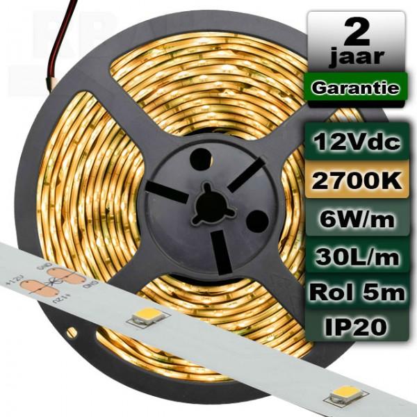 2700K Ledstrip Warmwit 12V 6W/m 5meter