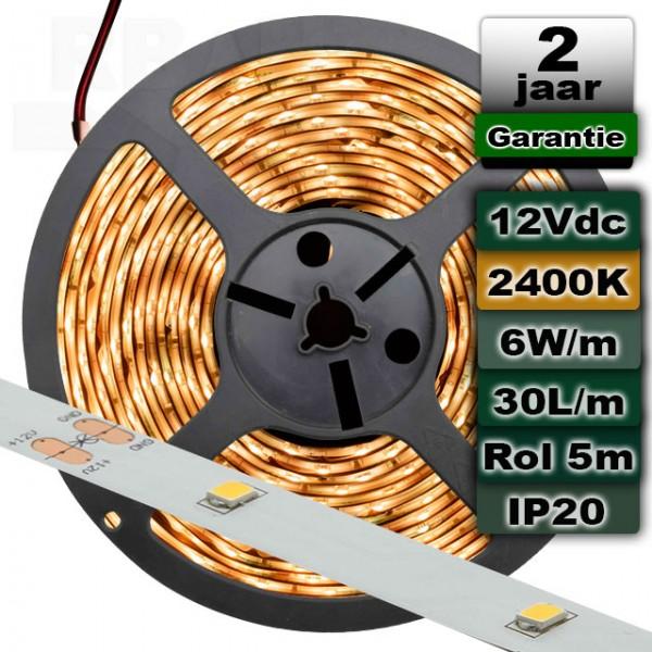 2400K Ledstrip Extra warmwit 12V 6W/m 5meter