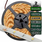Waterproof ledstrip 2400K Extra warmwit 12V 6W/m 5meter