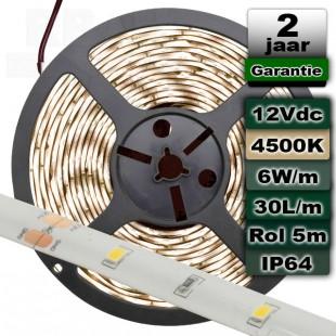 Waterproof ledstrip 4500K Daglicht 12V 6W/m 5meter
