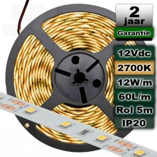 2700K Ledstrip Warmwit 12V 12W/m 5meter
