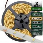 Waterproof ledstrip 2700K Warmwit 12V 6W/m 5meter