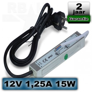 LED voeding waterdicht 12V 1,25A 15W