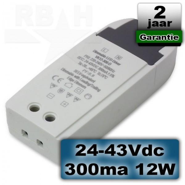 Dimbare led driver 24-43VDC 300ma 12W