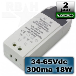 Dimbare led driver 34-65VDC 300ma 18W