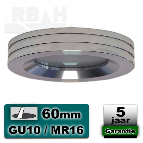 LED inbouwspot spatwaterdicht hoogglans aluminium MR16 / GU10