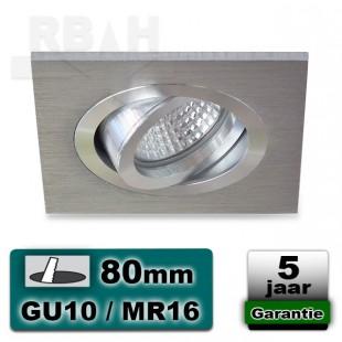 Inbouwarmatuur Spothouder GU10 MR16 Vierkant Aluminium