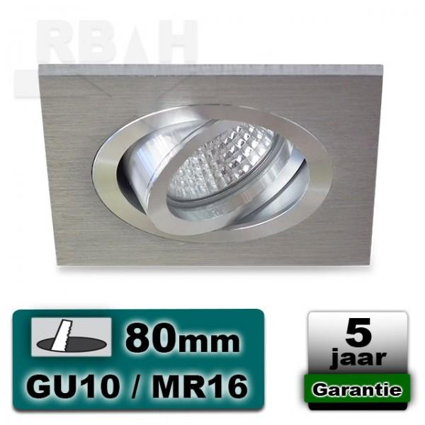 LED inbouwspot aluminium vierkant kantelbaar MR16 / GU10