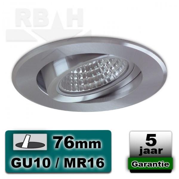 LED inbouwspot / armatuur geborsteld aluminium kantelbaar MR16 / GU10