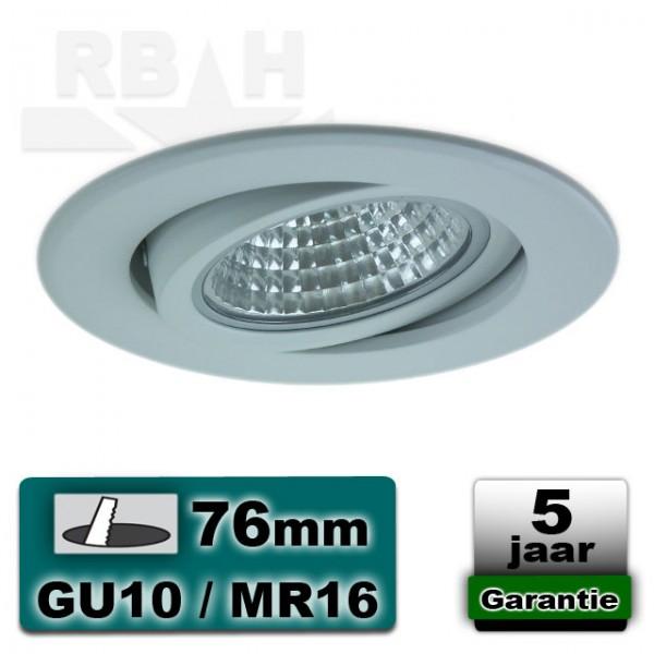 LED inbouwspot / armatuur aluminium wit kantelbaar MR16 / GU10