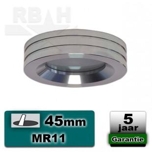 Inbouwspot / armatuur MR11 hoogglans aluminium IP44