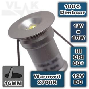 Mini ledspot inbouw 12V 1W Rond Dimbaar 2700K Warmwit