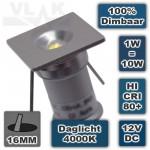 Kleine Minispot 1W 12V 4000K Daglicht