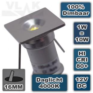 Vierkante mini ledspot inbouw 12Vdc 1W Dimbaar 4000K Daglicht