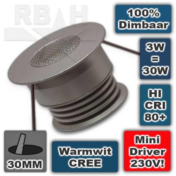 Dimbare 230V mini led spot CREE 3W
