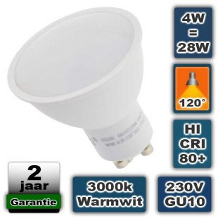 Ledspot 4W 230V GU10 fitting 120° 3000K warmwit