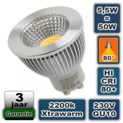 Led spot GU10 5,5W COB 2200K Xtra Warmwit Dimbaar