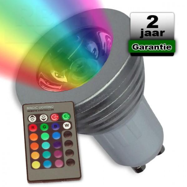 RGB Led spot GU10 met afstandsbediening