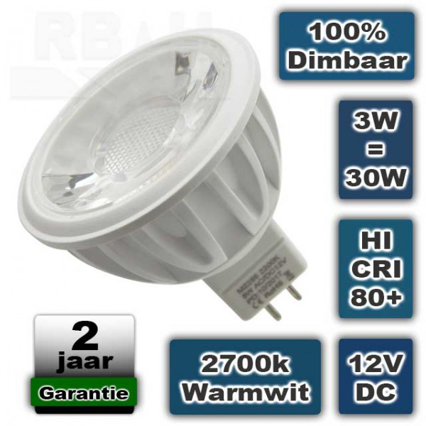 Ledspot MR16 12V 3W Warmwit 2700K Dimbaar