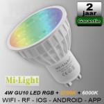 Mi-light RGB + CCT GU10 led spot RF Wifi 230V 4W