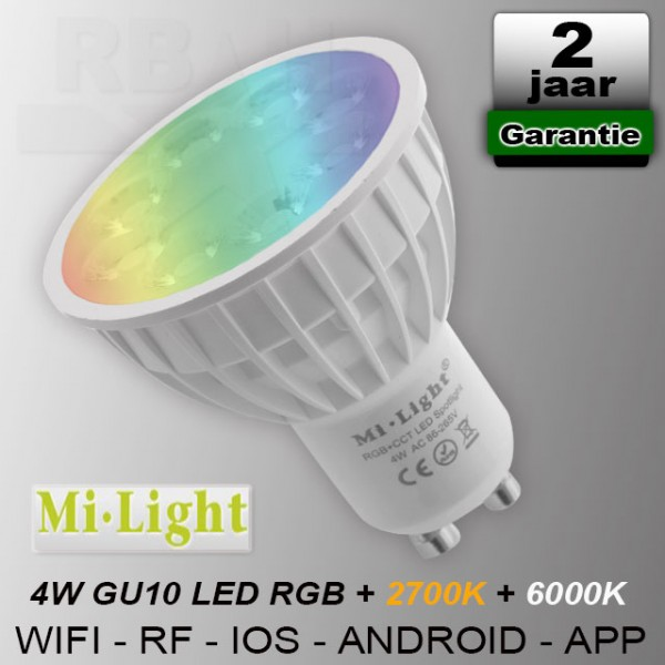 Mi-light RGB + CCT GU10 led spot RF Wifi 230V 4W