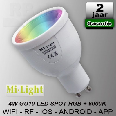Mi-light RGBCW GU10 led spot RF Wifi 230V 4W