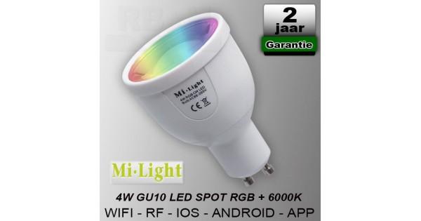 Mi-light RGBCW GU10 led spot RF Wifi 230V 4W