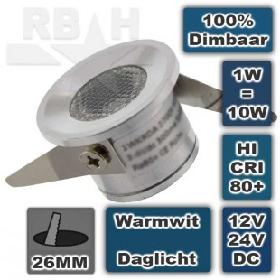Kleine LED spot inbouw 12V 1W 2700K Dimbaar