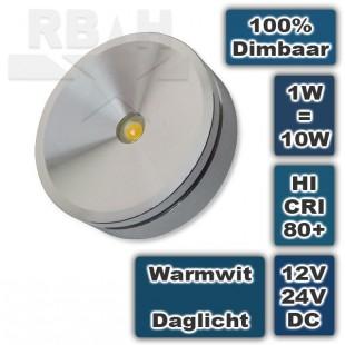 Opbouw ledspotje Rond 12V 1W Warmwit Dimbaar