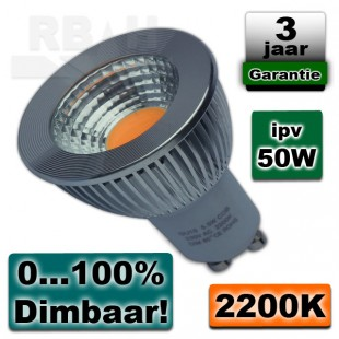 Led spot GU10 5,5W COB 2200K Warmwit Dimbaar
