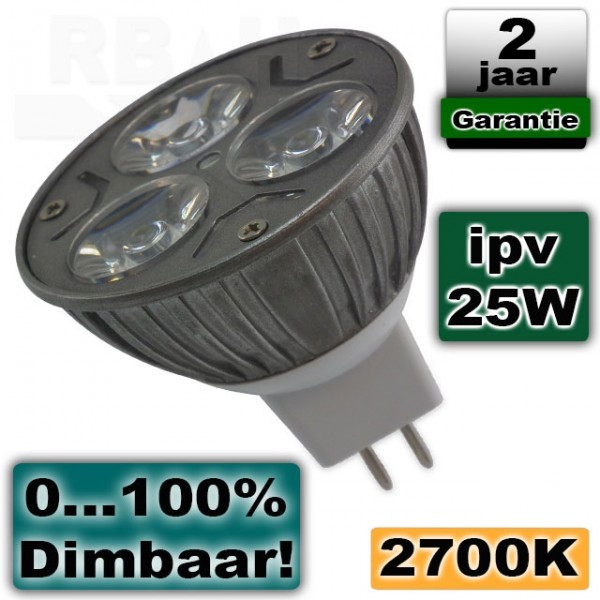 Led lichtbron 3W 12V 2700K warmwit