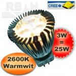 Ledspot MR11 12V 3x1W CREE warmwit 2600K