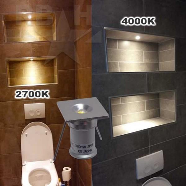 Vierkante mini ledspot inbouw 12v 1w dimbaar for Indirecte verlichting toilet