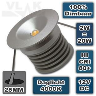 Mini led inbouwspot rond 12V 2W dimbaar 4000K Daglicht