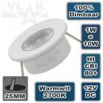 Kleine inbouwspot Led Wit 12V 1W 2700K Warmwit Rond Dimbaar