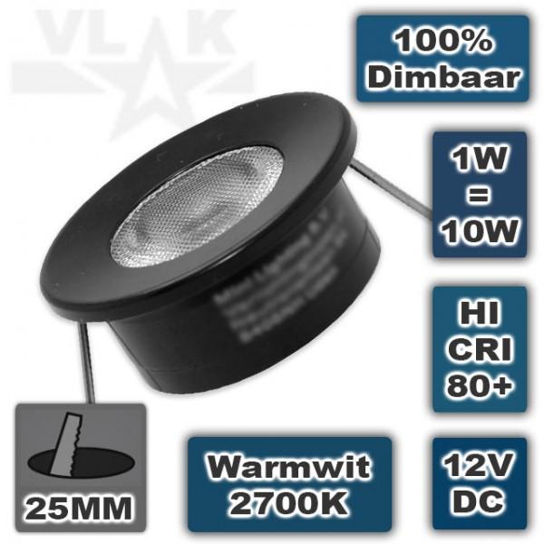Kleine mini led spot zwart 12V