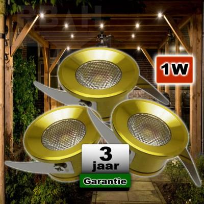 Veranda verlichting plafond inbouw Goud 1W