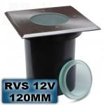 Grondspot RVS vierkant 120mm 12V
