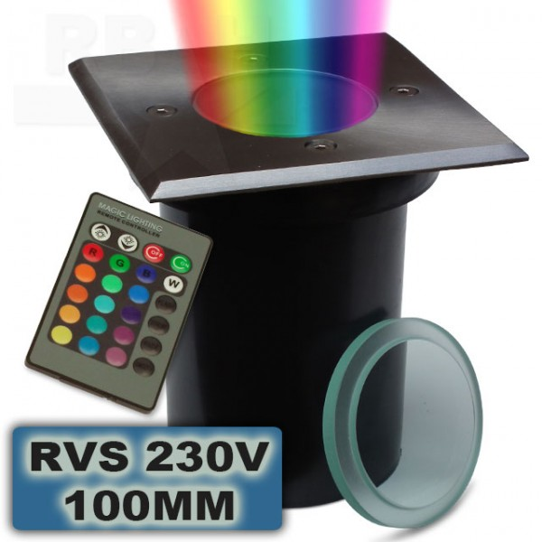 RGB Led grondspot RVS 100mm 230V