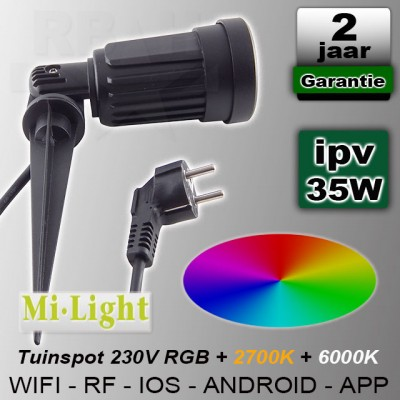 Prik tuinspot RGB + CCT Mi-light Wifi RF 230V 4W