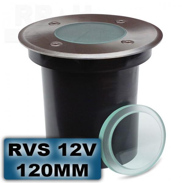 Grondspot RVS rond 120mm 12V
