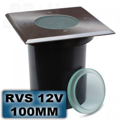Grondspot RVS vierkant 100mm 12V