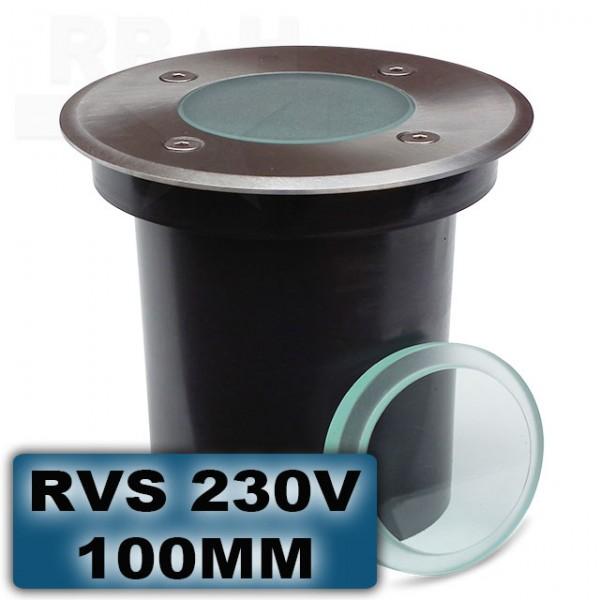 Grondspot RVS rond 100mm 230V